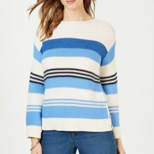 Charter Club Blue Striped Side Button Sweater XL
